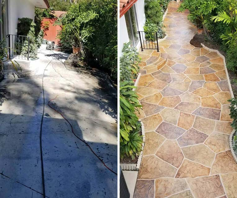 before and after concrete walkway large