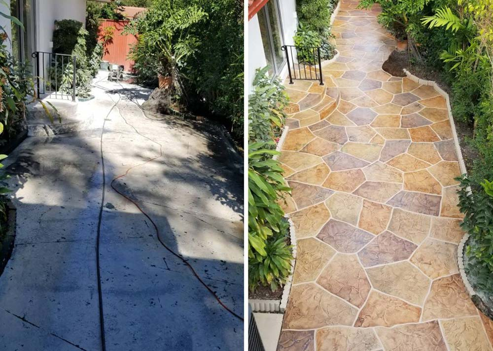 before and after concrete walkway