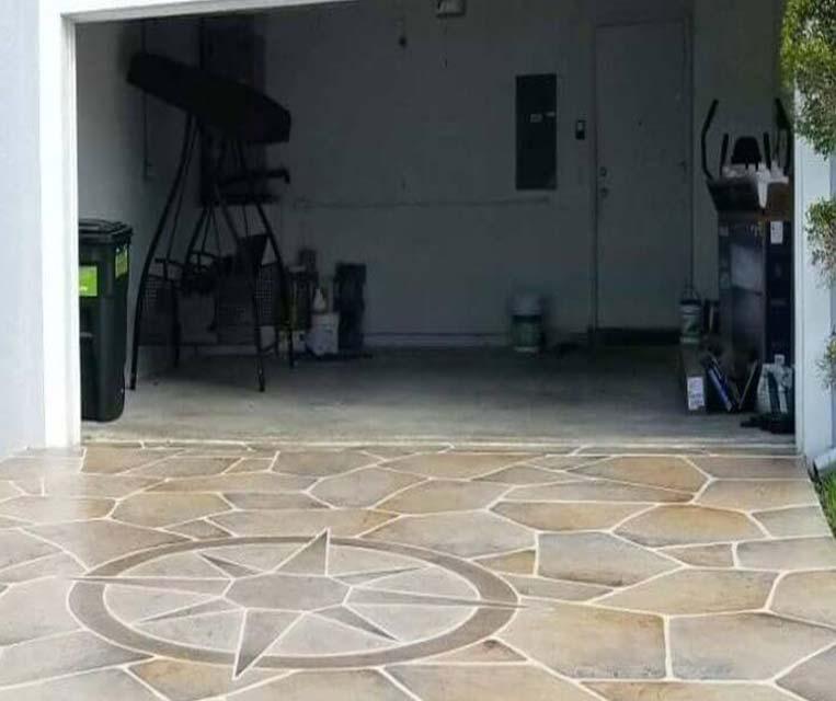 concrete driveway and walkway resurfacing flagstone look