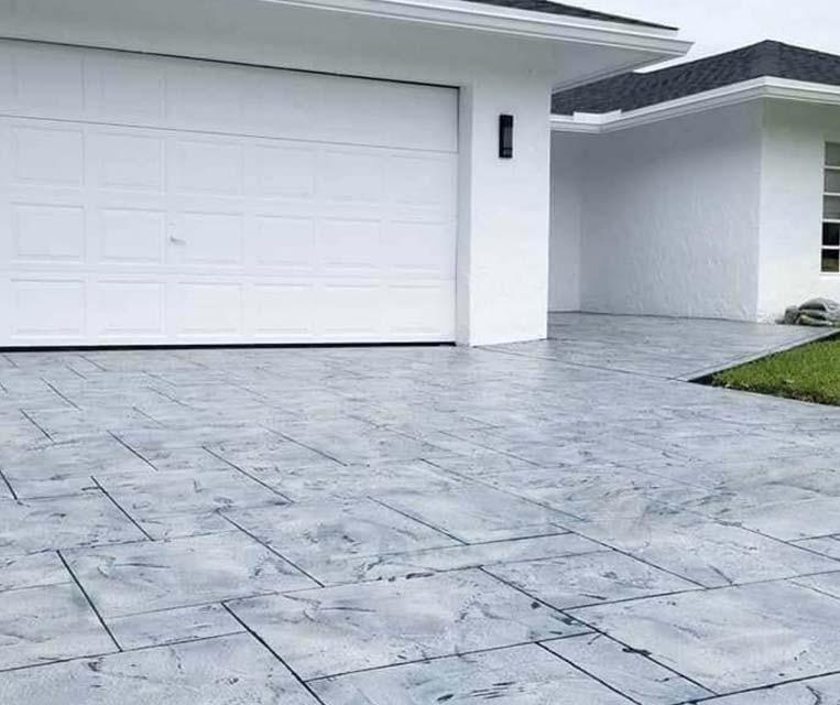 concrete driveway resurfacing gray stone -texture