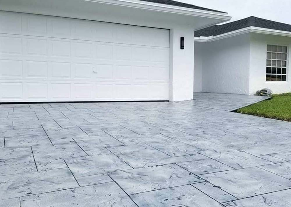 concrete driveway resurfacing gray stone texture