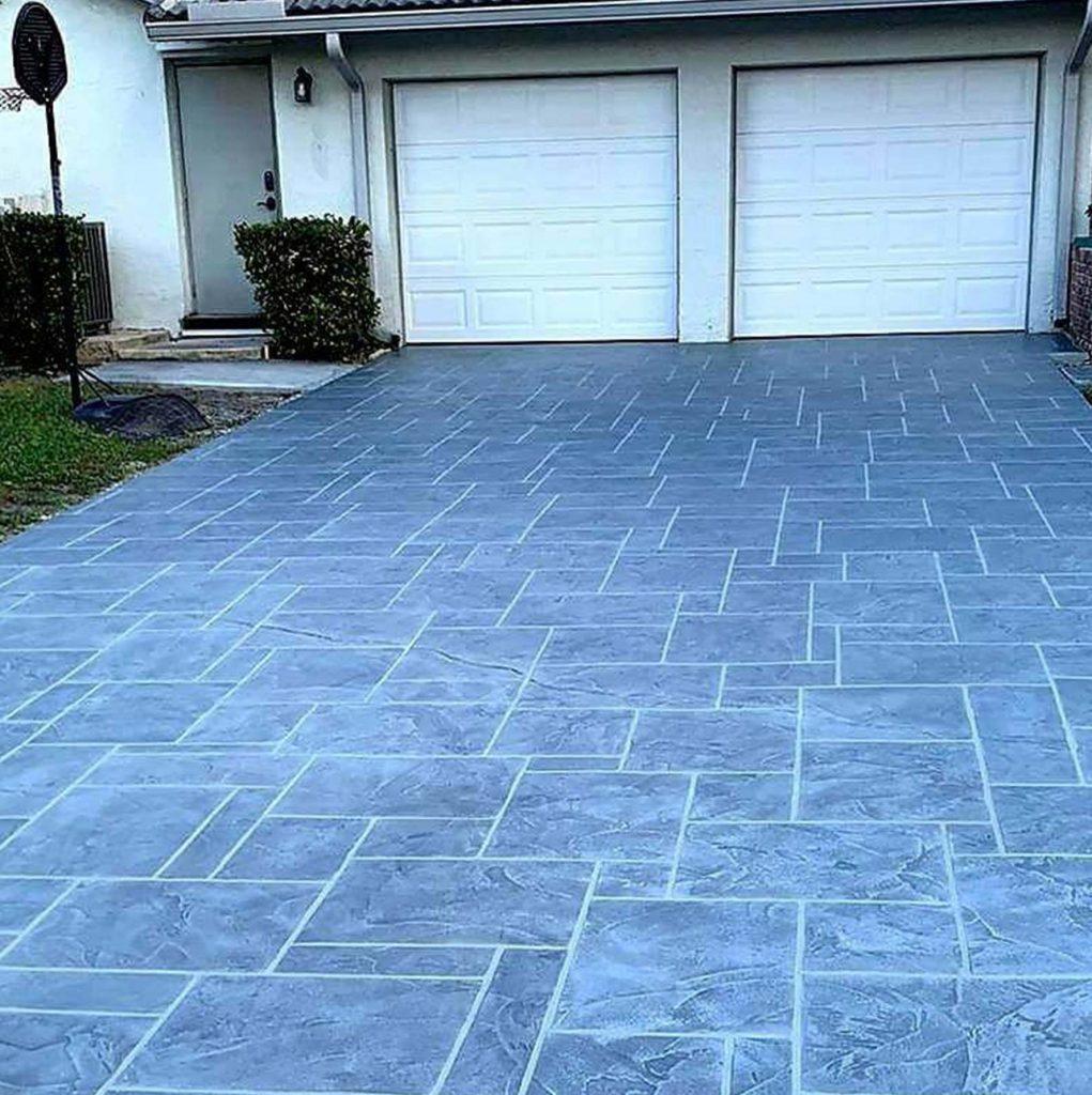 stamped concrete driveway resurfacing