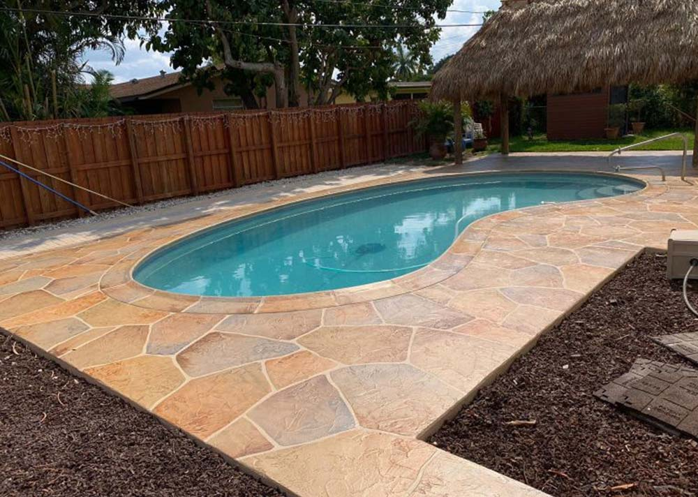 pool deck after concrete overlay