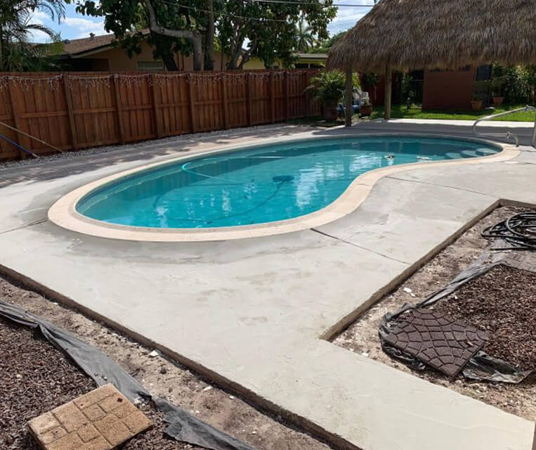 pool deck in boca raton before concrete overlay