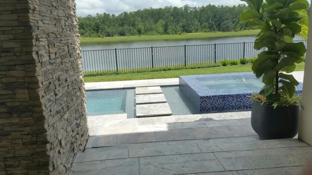 pool deck resurfacing using stamped concrete