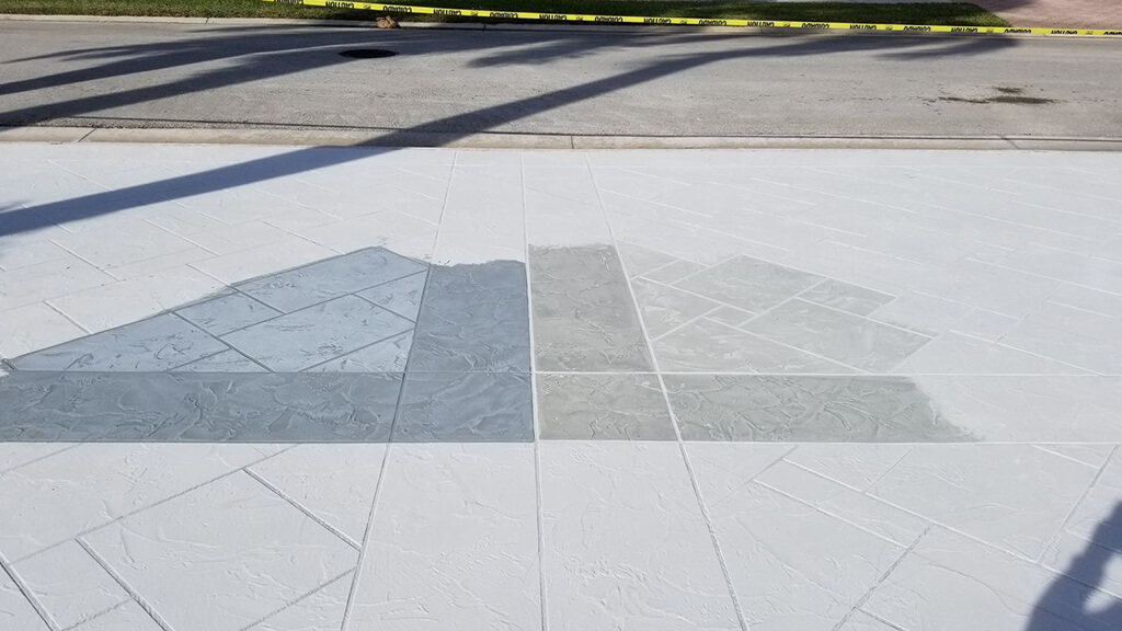 showing customer options for color for concrete driveway